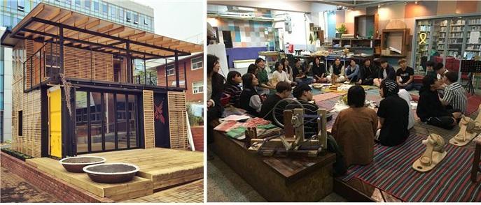 폐컨테이너를 활용한 에너지자립하우스 살림집(좌)과 목화학교의 직조수업 일부를 외부 참가자들과 함께 진행하는 오픈 워크숍(우)