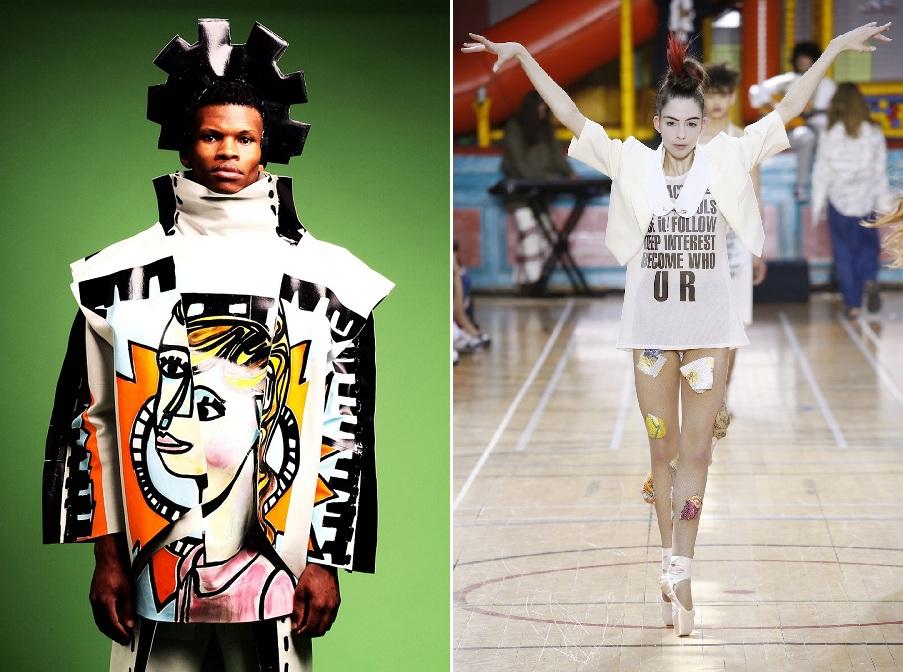 (왼쪽)베스 포슬(Beth Postle)이 디자인한 티셔츠. Image courtesy of Beth Postle. (오른쪽)비비안 웨스트우드가 올 2018년 봄/여름철 컬렉션으로 런웨이에서 선보인 티셔츠 신제품 디자인