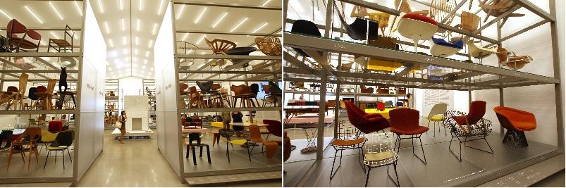 전 세계의 아이콘적인 의자를 모아둔 전시장