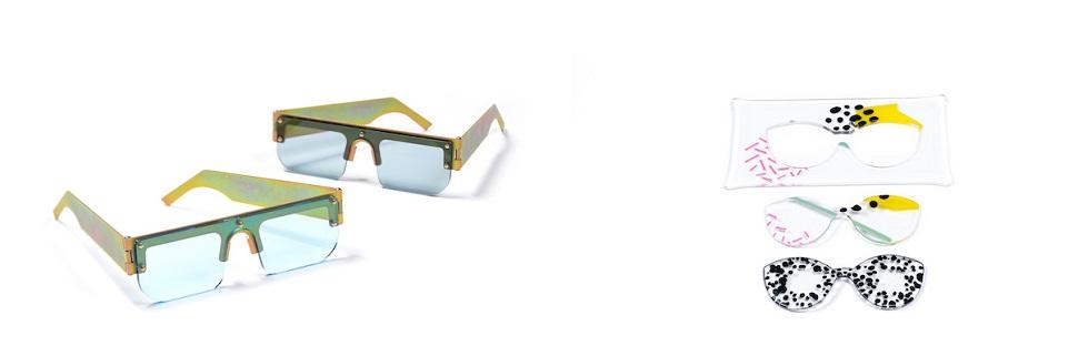 (왼쪽) 레디시 디자인팀이 디자인한 안경과 (오른쪽) 힐라 샤미아 스튜디오의 유리 렌즈 안경 디자인. Image by Shay Ben Efraim. Courtesy: Design Museum Holon.