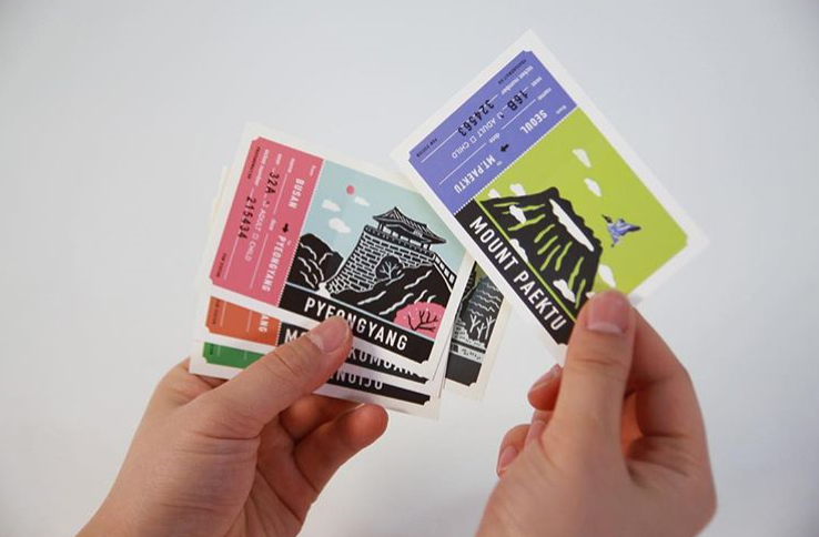 서울에서 백두산, 부산에서 평양으로 갈 수 있는 그날을 기대하며 디자인한 티켓 스티커
