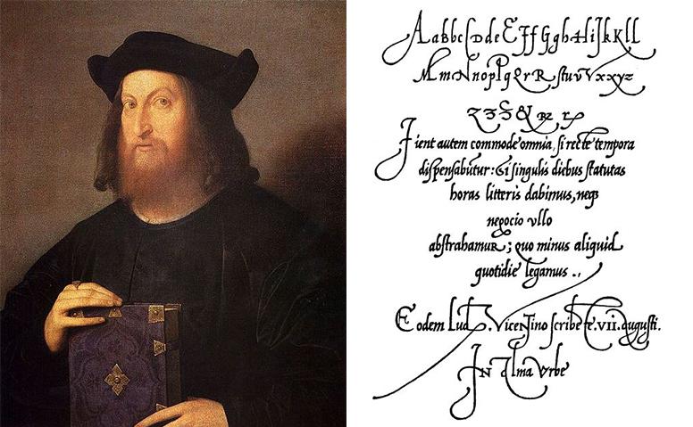 좌_ 루도비코 빈센티노 델리 아리기(출처: pinterrest.com)  우_ 그가 디자인한 La Operina, Manual de Caligrafia de 1522(출처: tipografos.net)