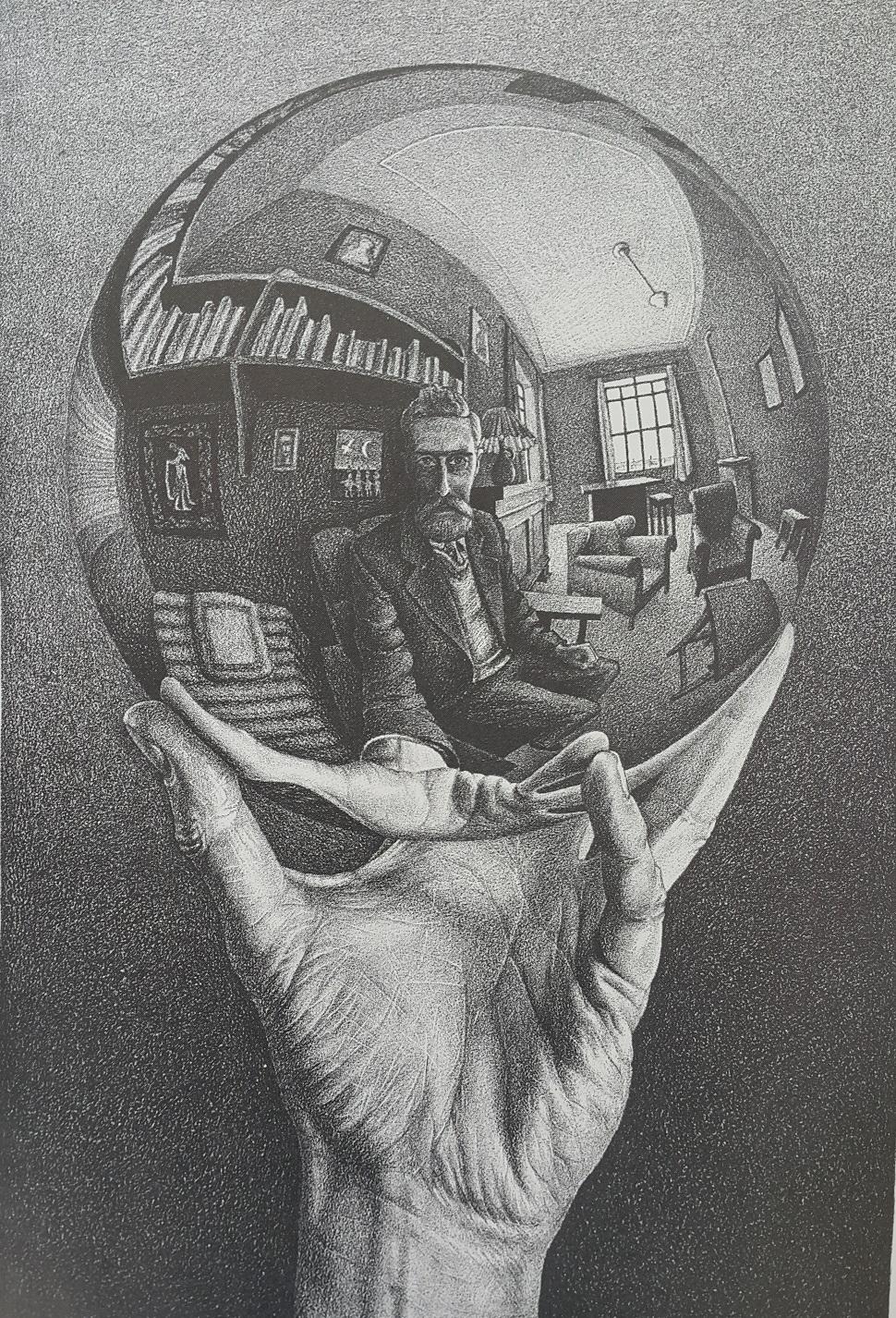 Hand with Reflecting Sphere (반사 공을 든 손), 1935