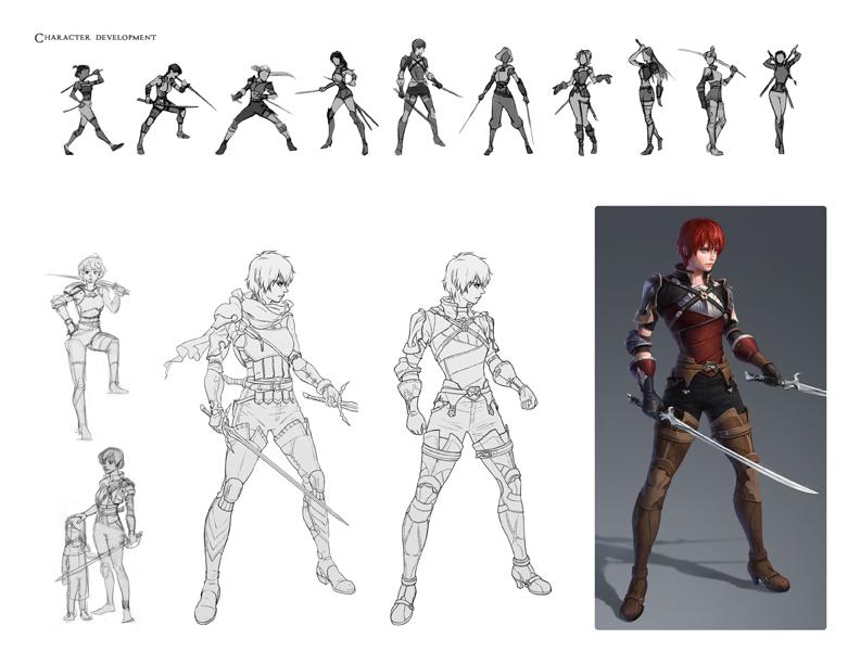 이미나 디자이너의 개인 프로젝트 'White Night' 의 일부 작업 과정. 날렵한 여자 용병의 컨셉으로 썸네일을 만든 후 그중에 마음에 드는 것을 골라 디자인을 구체화시켰다. 오른쪽 아래가 캐릭터의 초기 디자인 완성본이다.