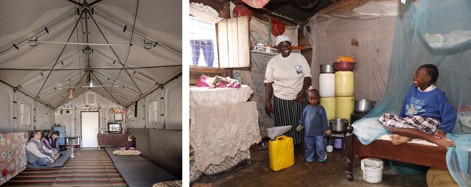 (왼쪽) 이라크 에르빌의 카웨르고스크 난민촌의 임시주택 실내 모습. 가구업체 이케아가 2013년부터 대량생산하기 시작해 현재 전 세계 난민촌에 개당 1천 달러의 가격으로 납품하고 있다. Courtesy: Better Shelter, MoMA, New York. (오른쪽) 노르웨이 오슬로에 본사를 둔 난민을 위한 디자인 NGO 연구소 노르스크 폼(Norsk Form)이 우간다 카탄가 빈민구역 거주민들을 위해 안전하고 저렴한 화장실 아이디어를 제안한 'Safe Toilets in the Slum' 전 중에서. 5천 명이 한 화장실을 써야 하는 열악한 주거환경에서 값싸고 실용적인 배설 시설은 위생 보건에 무척 중요하다. Courtesy: Norsk Form. Photo: Kristine Nyborg.