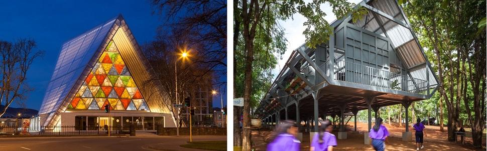 (왼쪽) 시게루 반이 2011년 뉴질랜드 크라이스트처치에서 발생한 규모 6.3의 강진 이후 공공시설이 파괴된 도시와 시민들을 위하여 방수 처리된 골판종이를 이용하여 2013년 지은 교회 건물. 종이라는 연약한 재료지만 수년 넘게 지탱이 가능해 반영구적인 구조물의 재료가 될 수 있음을 보여준 예다. Image courtesy Shigeru Ban Architects. Photo: Bridgit Anderson. (오른쪽) 태국의 윈 와라완 건축사무소(Vin Varavarn Architects)가 태국 북부에 시공한 내진 학교 건물. 여러 개의 기둥 위에 가옥을 얻어 짓는 태국 전통 가옥 형태에 섬유 콘크리트와 대나무 소재를 활용하여 지진 충격을 흡수하도록 했다. Courtesy: Vin Varavarn Architects. Photo: Spaceshift Studio.
