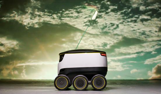 스타십 테크놀러지스(Starship Technologies) 사가 디자인한 스타십 배달 로봇(Starship Delivery Robot), 2015년 ©Starship Technologies. Image courtesy: Vitra Design Museum.