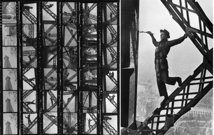 좌_ 에펠탑 페인트공, 파리, 프랑스, 1953년, 밀착인화지 Eiffel Tower Painter, Paris, France, 1953, Contact Sheet © Marc Riboud / Magnum Photos