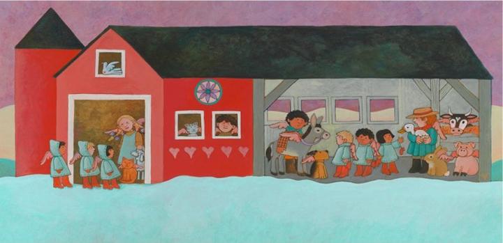 토미 드파올라, 〈컨트리 엔젤 크리스마스(Country Angel Christmas)〉, 핸드메이드, 수채화지에 아크릴채색, 26×53cm, 1995