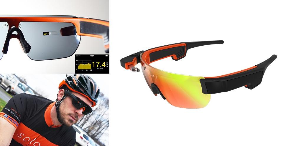 스마트 안경은 특히 시시각각 초를 다투는 경쟁 스포츠 분야 선수들 사이에서 기록 상승을 위해 적극 사용된다. (왼쪽) 미국 사이클 팀이 활용하고 있는 솔로스(Solos) 스마트 안경은 실시간 환경 및 선수의 생체정보를 제공한다. © 2017 Solos Wearables™. (오른쪽) 에브리사이트(Everysight) 사가 개발한 빔 테크놀로지(BEAM™ technology)를 기반으로 한 사이클링 전문 AR 안경이다.
