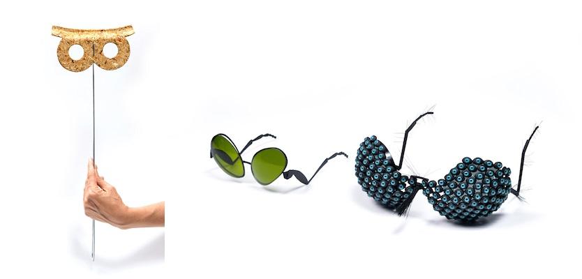 (왼쪽) 야콥 카우프만의 '팰럿 마스크(Pallet Masks)' 시리즈 중에서. (오른쪽) 아리엘 라비안(Ariel Lavian)의 '플리시스(Flysses)' 패션 선글라스 디자인. Image by Shay Ben Efraim. Courtesy: Design Museum Holon.