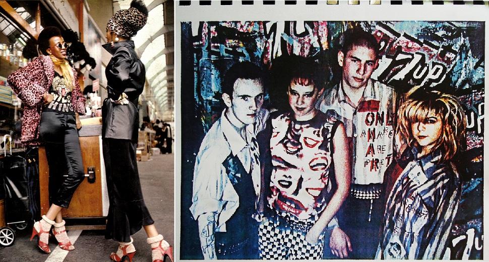 1970년대 영국 패션디자이너들은 진정한 창조적 패션이란 파격적인 스타일에서 비롯된다고 믿고 청년문화와 하위문화(subculture)에서 패션의 창조적 영감을 구했다. (왼쪽)브릭스턴 마켓 와일드 씽스(BRIXTON MARKET Wild Things), 1971년. Photo: Ahmet Francis. Dove/White. Courtesy of Paul Stolper Gallery. (오른쪽)립스 티셔츠(LIPS t-shirt), 보이 블랙메일(BOY BLACKMAIL) 1979년. Photo: Derek Hutchins. Dove/White. Courtesy of Paul Stolper Gallery.