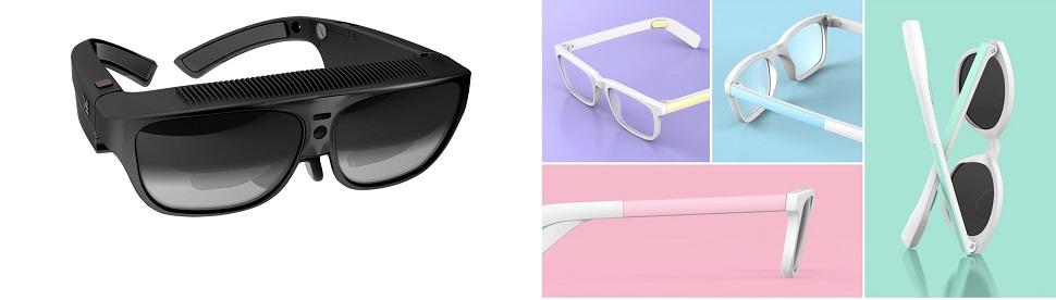(왼쪽) ODG 사가 디자인한 R7 스마트 안경은 여전히 프로토타입 단계에 있는 여러 증강현실용 스마트 안경 제품 중 가장 앞선 기술을 탑재한 소비자용 스마트 안경으로, 포케몬고 증강현실 게임을 제공한다. Image © 2017 OSTERHOUT GROUP INC. (오른쪽) 일상용 스마트 안경이라는 슬로건을 내걸고 킥스타터 크라우드 펀딩 사이트에서 지원을 받아 디자인된 Vue 스마트 안경 겸 선글라스는 스마트폰의 각종 앱 기능을 수행할 수 있다. 겉보기에는 평범한 시력교정용 안경처럼 보이지만 첨단 골전도 기술을 이용, 착용하는 즉시 얼굴과 귀의 뼈를 통해 인터페이싱 돼 손가락 제스처로 전화통화, 음악 청취, 주변상황 통보 기능을 제어할 수 있다. 올 가을 출시를 앞두고 있다. © Vue 2016.