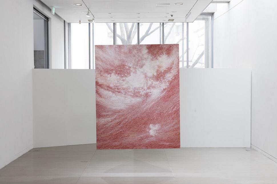 강운, <공기와 꿈>, 2013, 캔버스에 염색한지 위에 한지,227.3x182cm