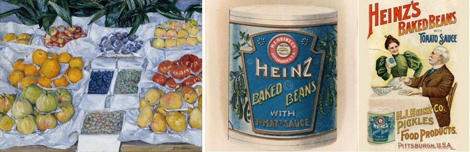 (왼쪽) 종이는 도자기와 더불어 가장 오래된 음식 포장재다. 구스타브 카유보트(Gustave Caillebotte, 1848~1894)의 그림 <가판대에 진열된 과일(Fruit Displayed on a Stand)> 1881~1882년경, 캔버스에 유채, 765mm x 1,006mm. Collection: Museum of Fine Arts, Boston. (오른쪽) 유리병이나 양철통에 음식물을 담아 소독해 보관하는 방법은 19세기 유럽에서 비롯되어 이후 다양한 가공식품 포장방법으로 통조림 깡통이 일상화되었다. 이미지는 1895년 미국 시장용 하인츠 콩조림 캔 포장과 광고.