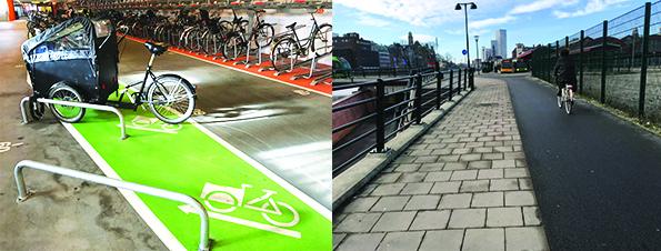 아이들이나 애완견을 태우도록 디자인된 '카고 바이크(Cargo bike)'(왼쪽)와 보행자 도로와 구분되어 설계된 자전거 도로