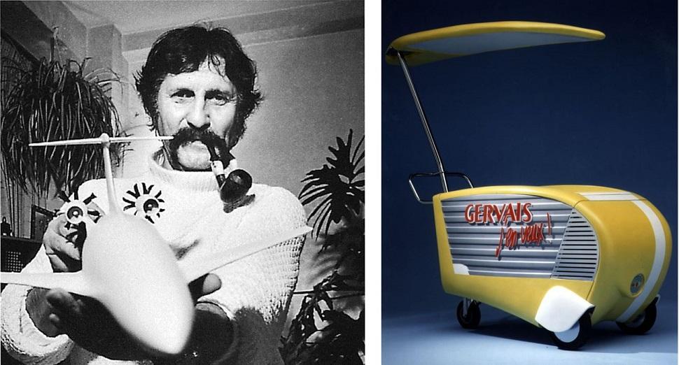 (왼쪽) 자신의 디자인을 '바이오 디자인(bio-design)이라 부르는 루이지 꼴라니는 자연을 스승으로 삼은 '바이오다이내믹(biodynamic)' 디자인으로 모양만이 아닌 기능적으로도 유선형 디자인을 실현한 디자이너다. Image courtesy: Vitra Design Museum. (오른쪽) 1980년대 멤피스 밀라노 디자인 철학과 유선형 미학을 결합한 볼리디즈모 디자인 운동의 대표 주자 마시모 요사 기니의 작품 <제르베(gervais)> 아이스크림 가판수레, 1989년 작. Image courtesy: Iosa Ghini Associati © 2011.