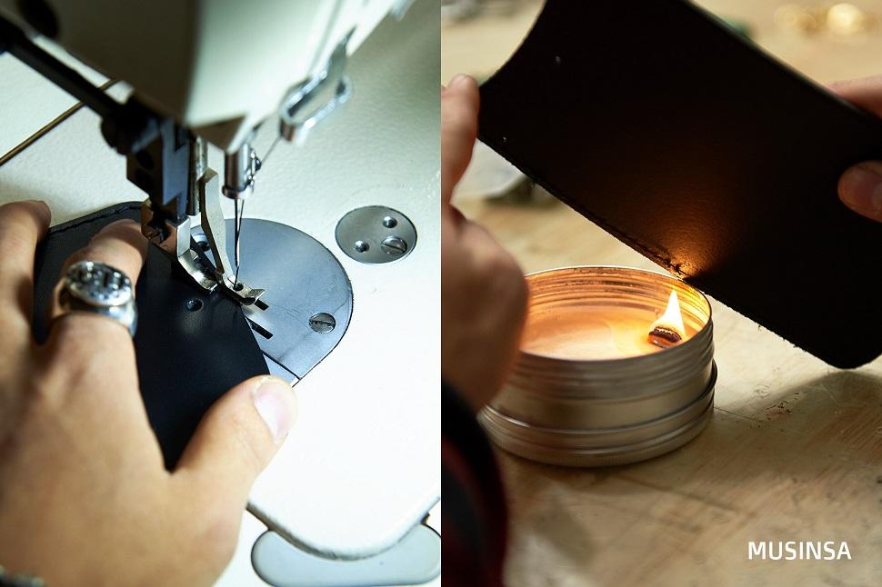 가죽 전용 재봉틀을 이용하여 능숙하고 섬세한 솜씨로 테두리 장식 스티치를 하는 모습. 이후 가죽 절단면과 스티치를 정리한다.