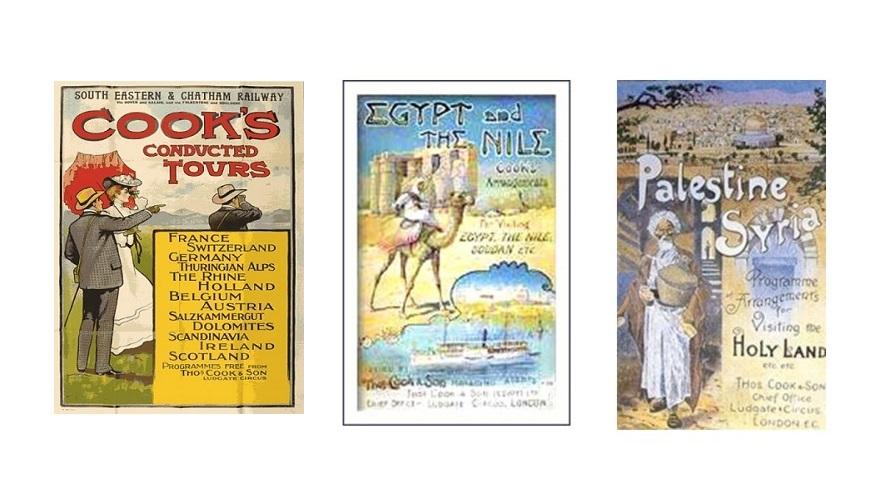 토마스 쿡 여행 대행사가 대중 관광객을 상대로 판매한 각종 여행 패키지 상품 프로슈어와 포스터 광고. 글로벌화가 최고조에 달했던 19세기 말, 유럽 여러 주요 도시들과 중동의 유적도시들 사이를 이어주는 다양한 투어 패키지 루트를 개발하여 오늘날 우리가 알고 있는 여행사 관광투어 대행업의 원형을 일찍이 제시했다.
