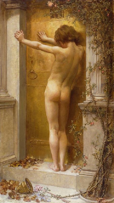 안나 레아 메리트 ANNA LEA MERRITT (1844–1930) 닫힌 사랑  1890/ 캔버스에 유채 / 115.6 × 64.1 ㎝ Love locked out  1890 / oil paint on canvas Tate: Presented by the Trustees of the Chantrey Bequest 1890