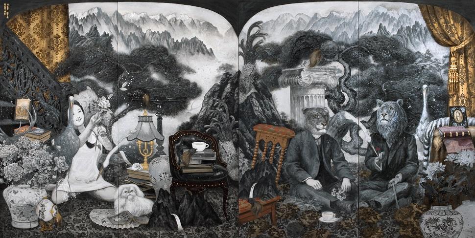 라오미 <라이거와 타이곤의 초상>, 순지에 분채,금박, 180×180㎝ each, 2pcs, 2017