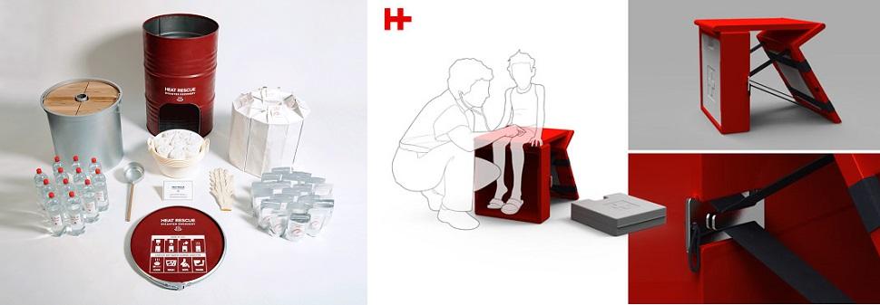 (왼쪽) 2011년 동일본 대지진이 일어난 후 일본 디자이너 히카루 이마무라가 디자인한 재난용 비상 열기구 장비(Heat Rescue Disaster Recovery). 이틀 동안 난민 3천 명의 생명을 구할 수 있으며, 2012년 밀라노 디자인 페어에서 소개되었다. Courtesy: Hikaru Imamura. (오른쪽) 재난 상황에서 신체에 상처를 입은 피해자에게 1차적인 비상 의료처치를 할 수 있는 의자형 구급 의료장비 세트 '힐링 벤치(Healing Bench)'. 접어서 어깨에 메고 이동할 수 있으며 펼치기에 따라 간이 의자나 간이 수술대가 된다. Designer: Adrian Candela.