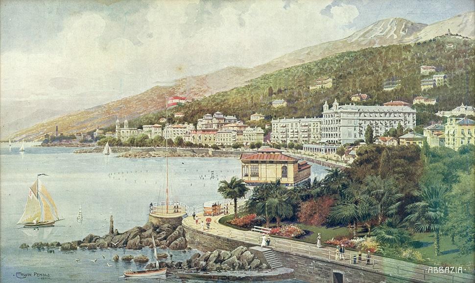 20세기 초 화가 에르빈 펜들(Erwin Pendl)이 여행홍보용 브로슈어 용으로 그린 작품. 일명 '오스트리아의 리비에라'로 불리던 아드리아 해안의 아바치아(Südstrand von Abbazia) 풍경, 1911년, 수채화 인쇄. Courtesy: Sammlung Samsinger, Wien Museum