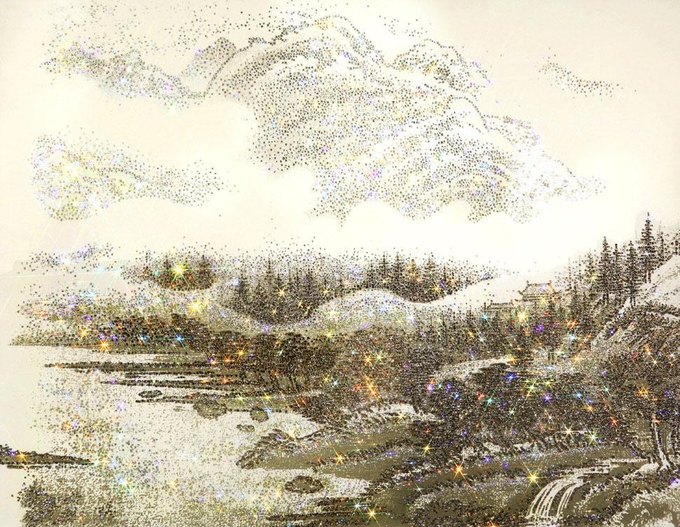 김종숙, ARTIFICIAL LANDSCAPE_ Luminous Greige Drawing, Mixed media & Swarovski's cut crystals on canvas, 116.8×90.9cm, 2017