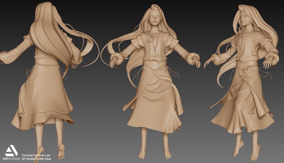 3D 아티스트와의 컬래버레이션 작업. 캐릭터 턴어라운드 드로잉은 3D 모델링에 좋은 참고가 된다.(3D 모델링: Nik Keat)