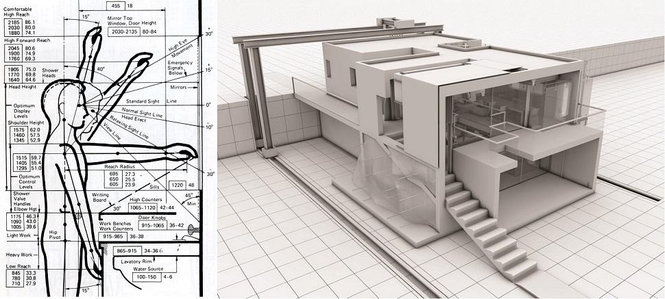 현대 건축 안전 법안은 근대 바우하우스 계열 건축가들이 구축해 놓은 인간 신체와 활동 영역 수치에 기초해 규정되고 있다. 일부 현대 건축가들은 변화한 현대 환경에 맞게 재고·수정되어야 한다고 주장한다. (왼쪽) 〈건축 그래픽 표준 지침서(Architectural Graphic Standards)〉 (Wiley 출판사, 2000년) 중에서. (오른쪽) 토마스 카르팡티에(Thomas Carpentier)가 파리 건축 특수학교(Ecole Spéciale d'Architecture) 대학원 졸업 작품으로 출품한 〈인간은 만물의 척도(L'homme, mesures de toutes choses)〉(2012년)는 현대인의 신체와 활동 역은 더 이상 근대 건축가들이 의존했던 척 도치와 다르다고 주장한다.