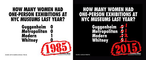 뉴욕시 메이저 미술관에서 열린 연간 여성 아티스트 개인전 통계, 1985년(좌측)과 2015년(우측)