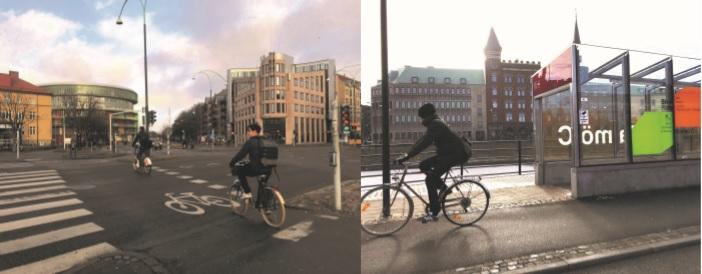 보행자를 위한 횡단보도와 자전거 전용 횡단보도, 신호등도 별도로 구분되어 설치되어 있다.
