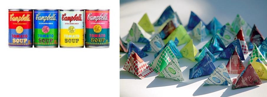 (좌) 캠벨 수프는 지난 2012년 팝 문화 역사 탄생 50주년을 기념하여 토마토 수프 캔 라벨 디자인을 타겟(Target) 수퍼마켓에서 한정수량 판매하는 행사를 가졌다. 이는 앤디 워홀의 1962년 <32개의 캠벨 수프 캔> 실크스크린 작품에서 영감을 받은 것이었다. Photo: Campbell Soup Company (우) 테트라팩(Tetra Pak)은 상하기 쉬운 유제품을 오랜 보관할 수 있는 사면체 포장용기(Tetra Classic® Aseptic carton packages)를 개발해 1944년 특허를 받았다. 이후 이 포장 용기는 종이 소재 위생 패키징의 대명사가 되었다. © TETRA PAK International. S.A.