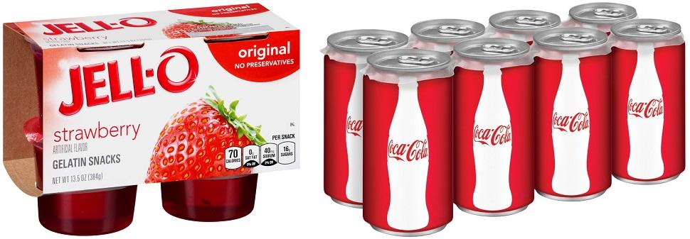 내용물이 보이는 투명한 포장은 신선하다는 메시지를 주기 때문에 신선함이 중요한 유제품이나 디저트에 적합하다. 또 심리학자들에 따르면 개별 포장 용기가 작을수록 소비자는 새 포장을 뜯어 더 많이 소비한다고 한다. 이에 맞춰 업계는 작아진 개별 용기를 복수 벌크식으로 포장하는 추세다. Courtesy: Jell-O Kraft Foods, Coca Cola.