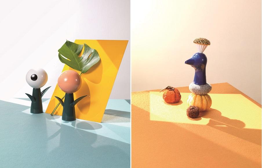 (좌)〈Golden Flower Balloon〉, 2017, 120×180×85mm, Porcelain, (우)〈Blue Bird〉, 2017, 100×175×60mm, Porcelain