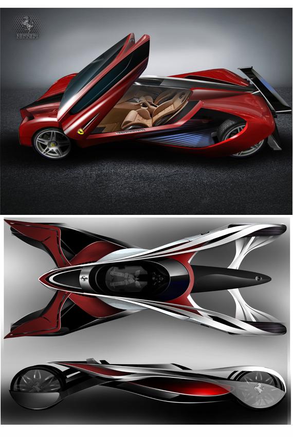 지난 2011년 페라리 자동차 디자인공모전 제출작품. X-fighter는 엑스의 형상에서 전체 쉐입을 핸들 없이 양손의 레버로 핸들링하는 모습이 마치 파이터를 연상시켜 붙인 명칭.