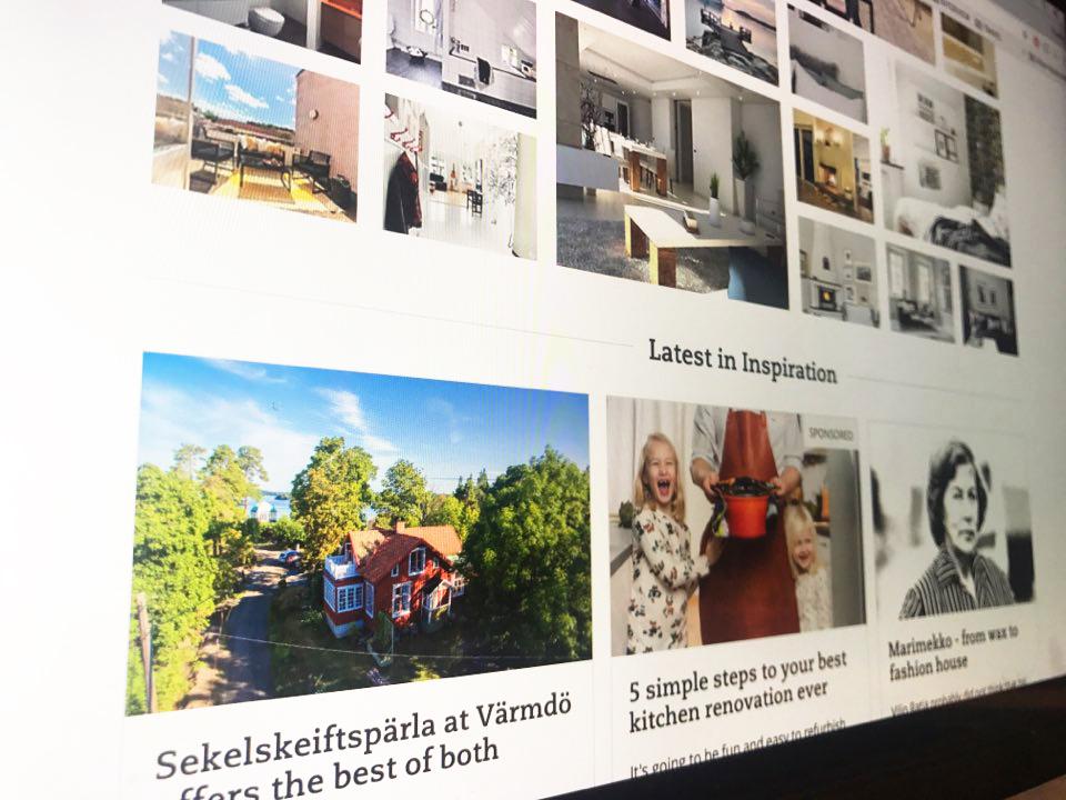 스웨덴 주택시장을 한눈에 볼 수 있는 www.Hemnet.se의 메인 화면. 매물뿐만 아니라 스웨덴 사람들의 인테리어 감각을 엿볼 수 있는 곳이기도 하다.