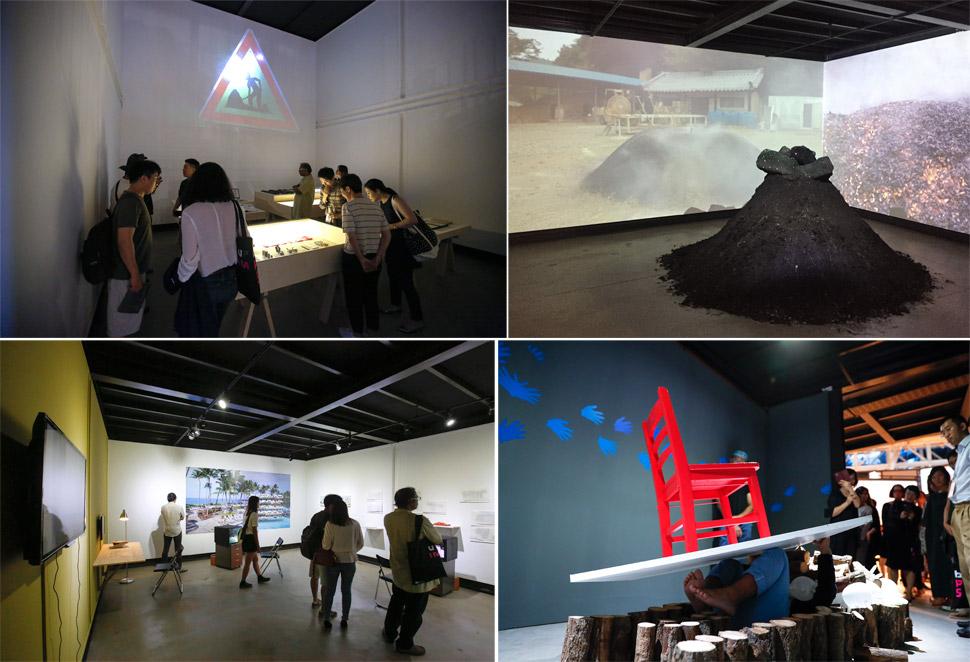 방 한 칸마다 아시아의 예술 공간들이 소개되고 소속 작가의 작품이 전시되어 있다.