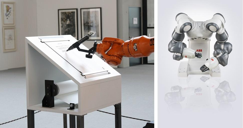(왼쪽) 독일의 로보랩(robotlab, ZKM)이 디자인한 로봇 미술가 <마이페스트(Manifest)>는 자체적으로 입력되어 있는 예술, 철학, 테크놀로지와 관련된 어휘록와 정보풀을 이용해 선언문을 작성할 수 있는 독립된 자율작동 로봇이다. 2008년 ©robotlab. (오른쪽) ABB Ltd.사의 <YuMi® 이중 팔 산업용 로봇(dual-arm industrial robot)>, 2015년 ©ABB Ltd. Image courtesy: Vitra Design Museum.