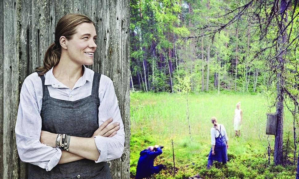 니가드안나의 창립자이자 디자이너인 안나(좌)와 브로슈어 이미지 컷 작업 모습(우) ⓒ Nygardsanna