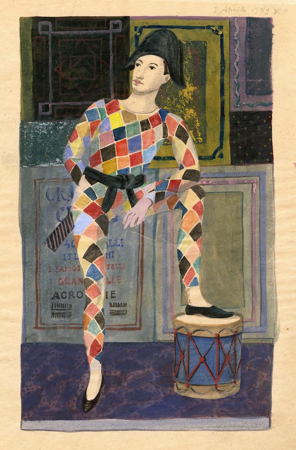 """Fornasetti tempera on paper """"Arlecchino"""". Cm 30x39h. 1939."""