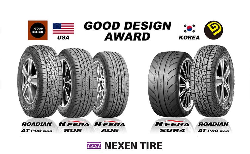 2015년 한국 굿 디자인 어워드와 미국 굿디자인 어워드에서 넥센타이어의 총 5개 제품이 굿 디자인 제품으로 선정됐다.