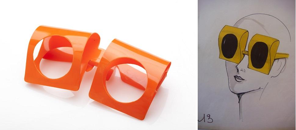 (왼쪽) 1960년대 이후부터 기술과 소재의 혁신은 계속됐다. 가벼운 플라스틱 소재의 안경테와 정밀 광학기술을 응용한 렌즈가 속속 개발되어 오늘날의 안경 디자인에 이른다. 1960년 플라스틱 소재로 디자인한 피에르 가르댕 선글라스와 (오른쪽) 이 선글라스를 디자인한 다니엘 고티에(Daniel Gaultier)의 아이디어 스케치. Image by Eli Bohbot. Courtesy: Design Museum Holon.