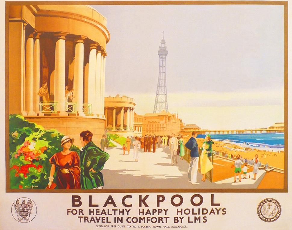 영국의 해변 도시 블랙풀을 해변 휴양지 및 관광지로 홍보하는 영국 철도 관광 홍보용 포스터. 클로드 헨리 버틀(Claude Henry Buckle, 1905-1973)이 그렸다. 20세기 초엽은 영국과 대륙권 유럽 전역에 철도가 건설되어 기차로 여행이 가능해진 철도의 황금시대로 불리기도 한다. 영국의 해변 도시 블랙풀은 프랑스 유명 해변휴양지인 코트다쥐르(Côte d'Azur)를 본따서 이 도시의 매력을 한껏 어필했다.