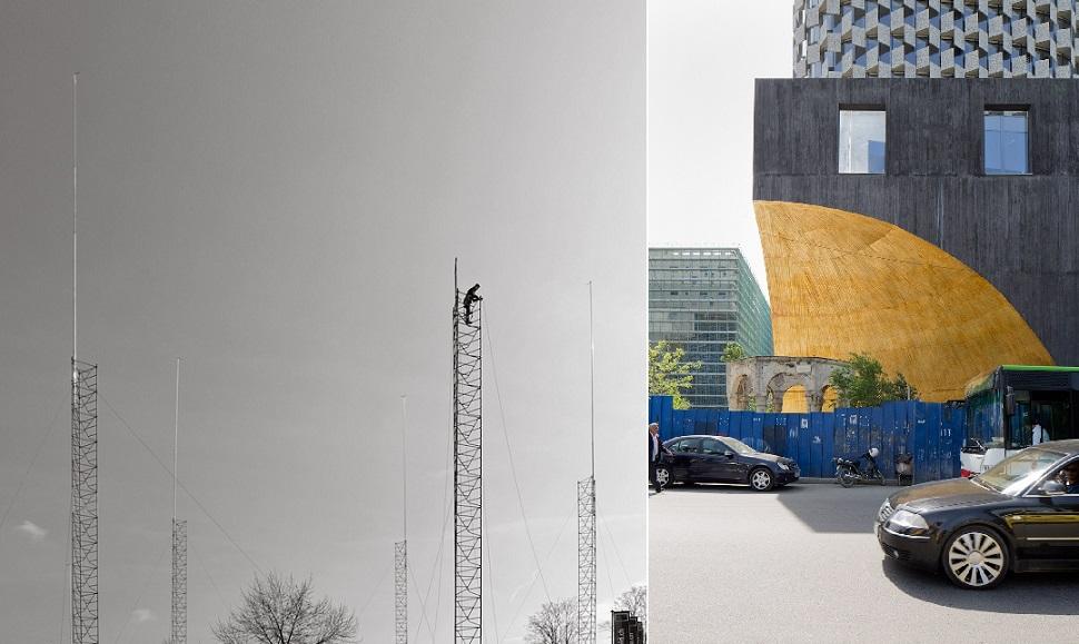 (왼쪽) 스위스에서는 모든 건설 프로젝트 현장은 일명 '건설 표시물'로 분명하게 설치하도록 규정되어 있다. Image: Regine Giesecke, Zug. (오른쪽) 알바니아의 수도 티라나에는 고건축물 보존법 이외에 신건축물에 대한 건설 규제나 안전 법규가 없다. 51N4E architects 사무소 설계 TID 타워(2016년). Image: Stefano Graziani. Courtesy: 〈Form follows Rule〉 exhibition at Architekturzentrum Wien.