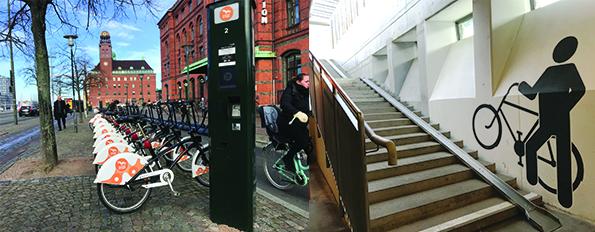 자전거 대여 시스템과 이를 위한 다양한 편의시설은 시내 곳곳에서 발견할 수 있다.