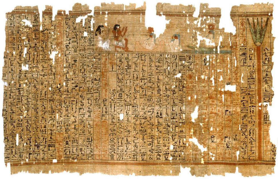 문자와 이미지를 함께 곁들여서 이야기를 풀어내는 방식은 문자의 이해를 돕고 상상력을 자극하는데 효율적인 아주 오래된 인류의 스토리텔링 기법이다. 기원전 1500년 경에 파피루스에 기록된 〈사자의 서(Book of the Dead)〉 중에서 ⓒ Brocklehurst Collection & Hanover Insurance Group