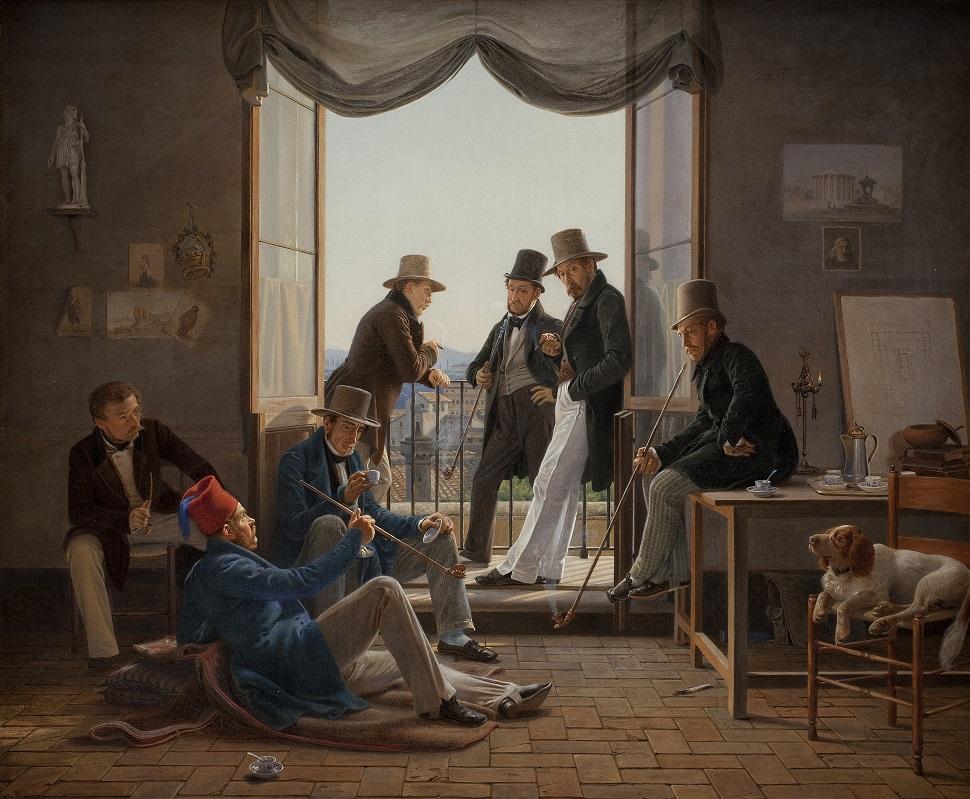 북부 유럽 출신의 예술가들은 유럽 문명의 최고절정지라고 여긴 이탈리아로 가서 유학하는 것을 중시했다. 덴마크의 화가 콘스탄틴 한센(Contantin Hansen)이 그린 <로마에서 체류하는 덴마크 화가들(A Group of Danish Artists in Rome)>, 1837년, 캔버스에 유채, 620 x 740 cm. Statens Museum for Kunst, Copenhagen, Denmark