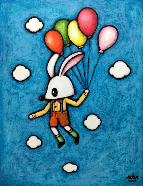〈White rabbit in the sky〉, 41x32cm, Acrylic on canvas, 2016