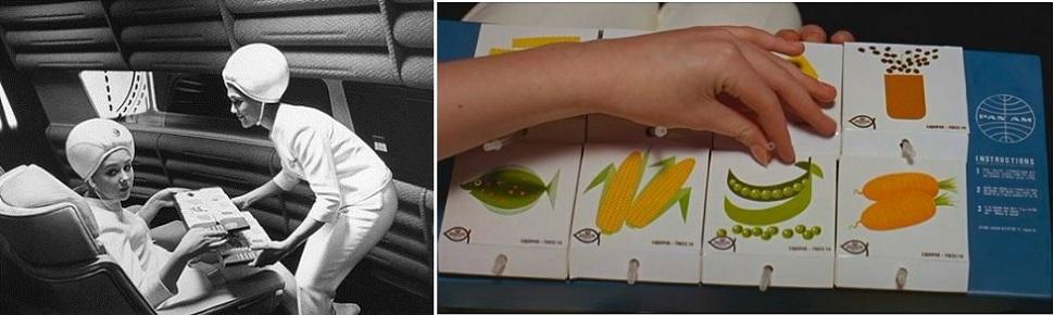 1968년 스탠리 큐브릭 감독의 공상과학 영화 <2001: 스페이스 오디세이> 중 한 장면. 큐브릭 감독은 미래 우주 시대에 인간이 먹게 될 우주 음식(Space Food)은 곡물, 야채, 과일과 약간의 단백질로 구성된 채식 가공포장식을 빨대로 빨아먹는 간편식이 될 것으로 예견했다.
